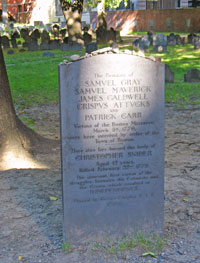 Boston Massacre Victims Marker - Granary Burying Ground in Boston
