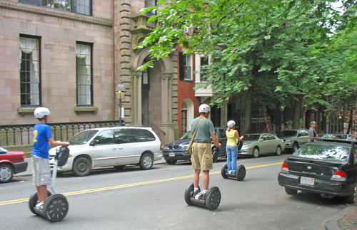 "Segways in Beacon Hill - just like in Boston movie ""Mall Cop"""