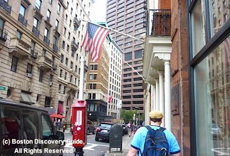 Boston Movie Tours leader as we go down Beacon Street