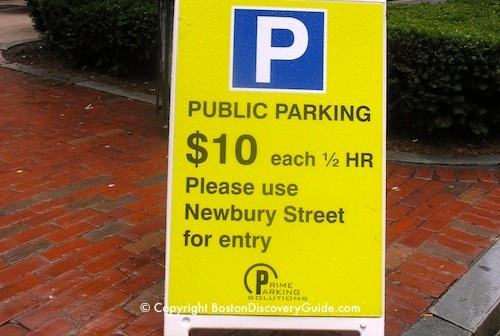 Sign for Boston Parking Garage on Newbury St charging $10 per HALF HOUR