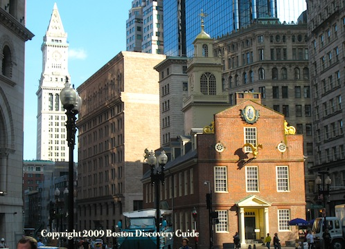 Historic Downtown - Old State House on the Freedom Trail, with Financial District skyscrapers and historic Custom House in the background