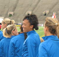 Boston Breakers team members in Harvard Stadium / Boston Sports - www.boston-discovery-guide.com