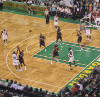 Boston Celtics playing in TD Garden / Boston Sports - www.boston-discovery-guide.com