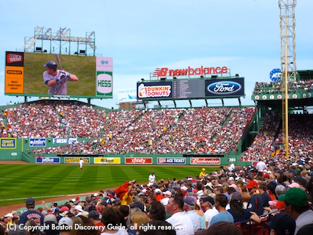 Boston weather in April - blue sky at Fenway Park