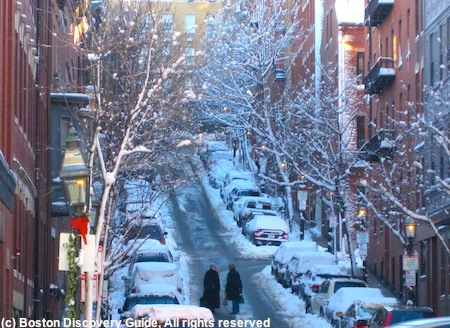 Photo of Beacon Hill in January showing why fun Boston winter activities are important