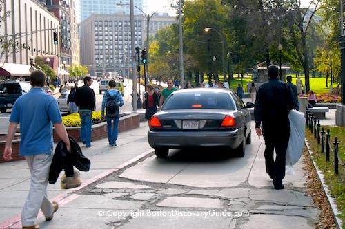 Car driving on Boston sidewalk . . . not OK!
