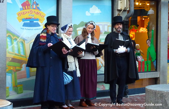 Photo of Christmas carolers in front of Brattle Book Store, Boston Massachusetts