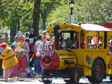 Clowns and Train in Boston Columbus Day Parade