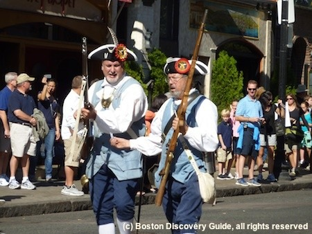 Colonial militia reenactors in Boston Columbus Day Parade