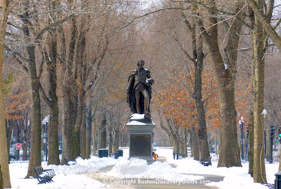 Boston Public Garden - George Washington statue - in the snow - walking tour starts here