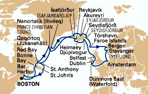 Map showing itinerary for cruises from Boston to Europe / www.boston-discovery-guide.com