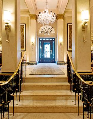 Elegant lobby of the Eliot Hotel Boston