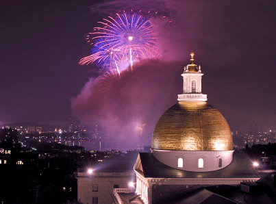 Boston fireworks, seen with the golden dome of the Massachusetts Statehouse in the foreground; copyright 2008 Stephen Orsillo