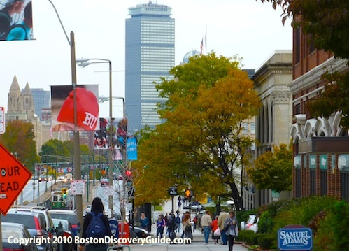 Looking down Comm Ave to Pru Center from BU Central campus