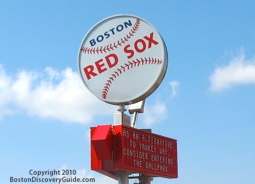 Red Sox sign near Fenway Park in Boston