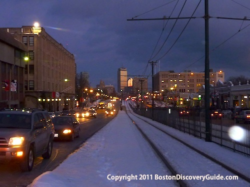 Tracks for the T's Green Line B runs down the center of Comm Ave near Boston University