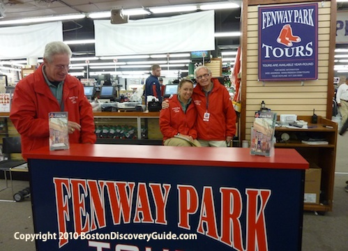 Fenway Park Tour Counter and tour guides