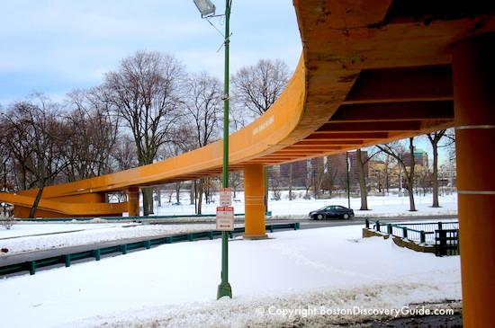 Boston Public Garden - George Washington statue - in the snow - walking tour starts here