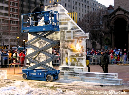 Ice sculptures at First Night Boston - photo courtesy of Jack Vinson- www.boston-discovery-guide.com