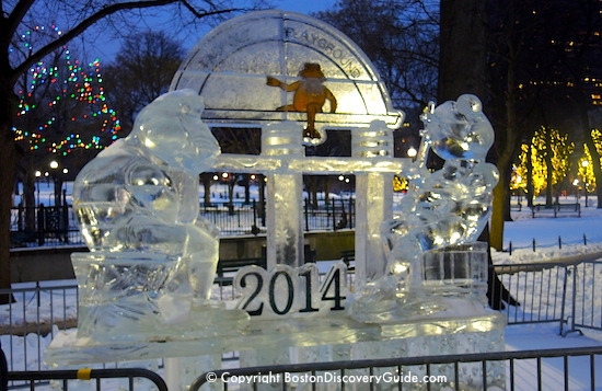 First Night Boston ice sculpture of Tadpole Playground in Boston Common