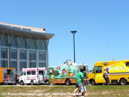 Food trucks lined up at the Boston Food Truck Festival