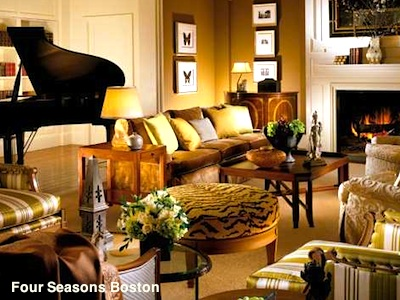 Boston luxury hotel - Grand piano in Four Seasons Hotel Boston
