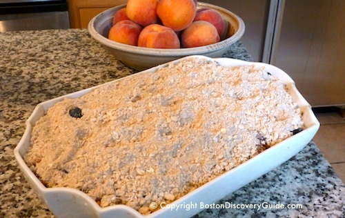 Fruit crisp with topping - ready to bake