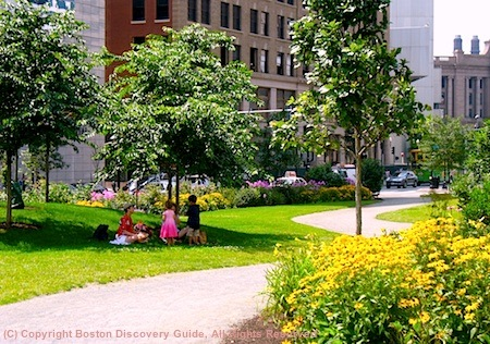 Lush plantings and perfect picnic spots define the Dewey Square area of Boston's Greenway