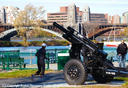 Army cannon stationed next to Hatch Shell