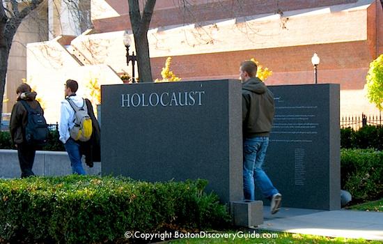 Entrance blocks framing the New England Holocaust Memorial