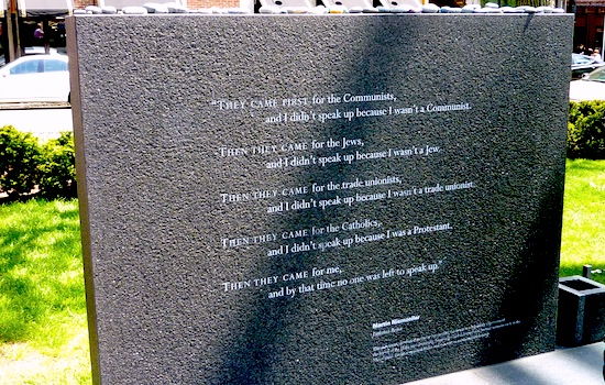 They Came First inscription by Martin Niemoller at the Boston Holocaust Memorial