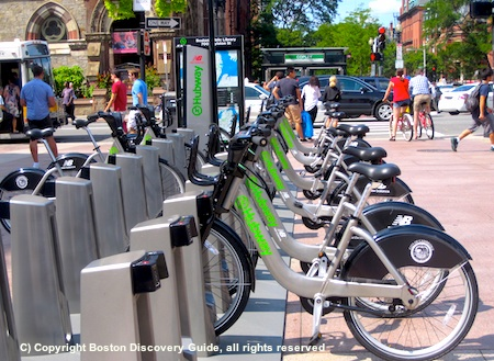 Photo of Boston Hubway bike share station at the Newbury Street/Hereford Street intersection