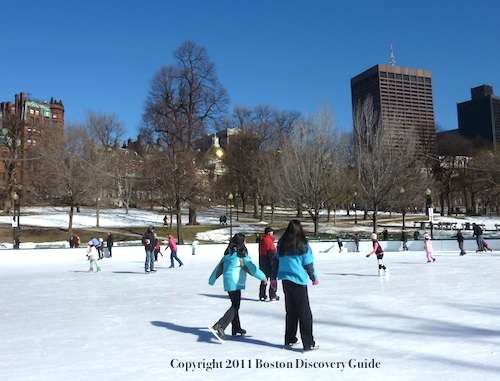 Photo of ice skating on Frog Pond in Boston