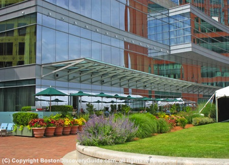 Intercontinental Boston - photo of gardens and Harborwalk behind the hotel
