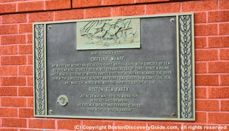 Photo of plaque marking site of Boston Tea Party on Griffins Wharf near Intercontinental Hotel Boston
