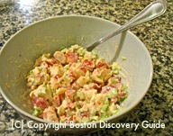 Lobster and celery for lobster roll / Lobster Roll Recipe - www.boston-discovery-guide.com