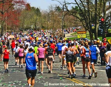 Boston Marathon near beginning of Heartbreak Hill - watch this famous Boston race for free