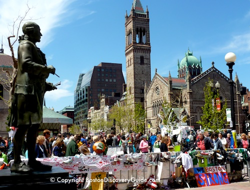 Boston Marathon Bombing Memorials in Copley Square, with statue of John Singleton Copley