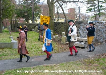 Menotomy Minute Men reenactors in Patriot's Day commemoration in Arlington, MA
