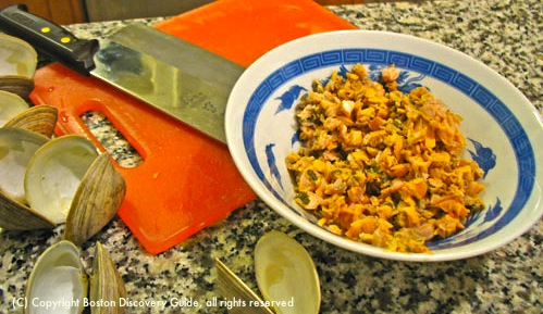 Chopped clams ready for chowder / New England Clam Chowder recipe - www.boston-discovery-guide.com