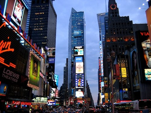 Photo of New York's Times Square and theaters, photographed at dusk / New York Tourist Attractions -  www.boston-discovery-guide.com