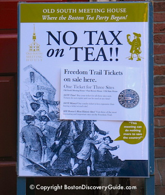 No Tax on Tea poster  outside Old South Meeting House
