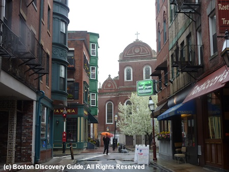 Looking toward North Square in Boston's North End, on a rainy April day