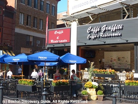 Patio dining in Boston's North End