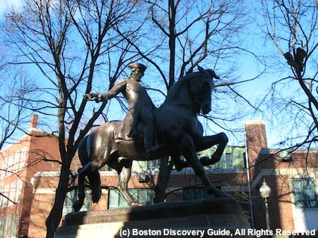 Statue of Paul Revere on horseback making his famous midnight ride - located in Paul Revere Mall in Boston's North End neighborhood