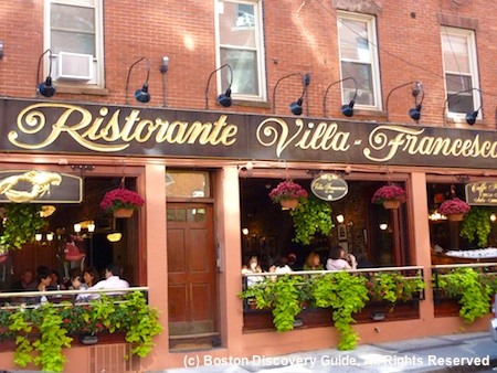 North End neighborhood in Boston - DIners in Italian restaurant
