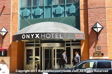 Stylish exterior of the Onyx Hotel Boston, which soars 10 stories above what you see in this photo