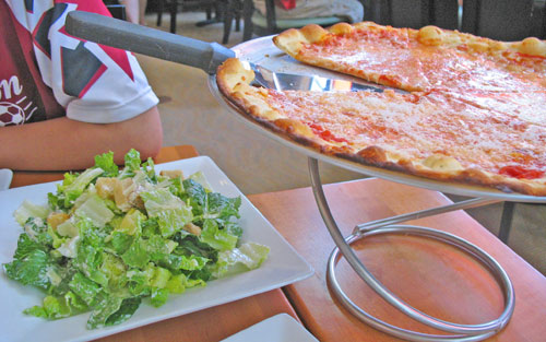 Pizza and Caesar's Salad at Tavolino's Pizzaria at Patriot Place near Boston Massachusetts