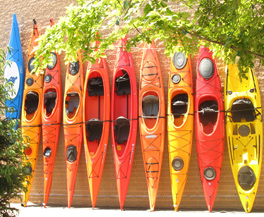 Patriot Place Mall - Kayaks outside sporting goods store