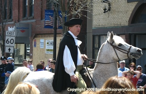 Paul Revere rides through Medford on his ride across the countryside to Lexington and Concord